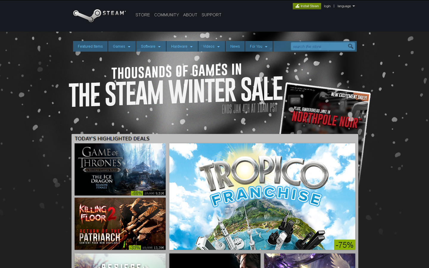 Arranca hoje a Steam Winter Sale