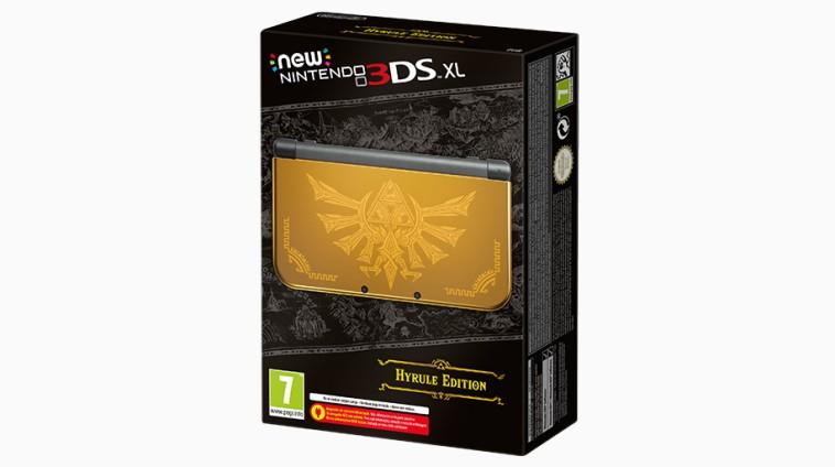 Nintendo New 3DS XL com o Hylian Crest gravado no seu topo