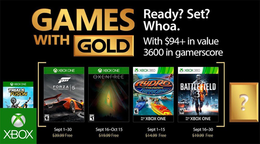 Oferta Xbox Games With Gold para Setembro