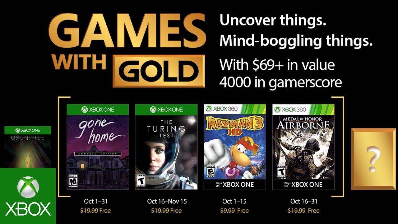 Jogos Gold para Outubro no Xbox Live