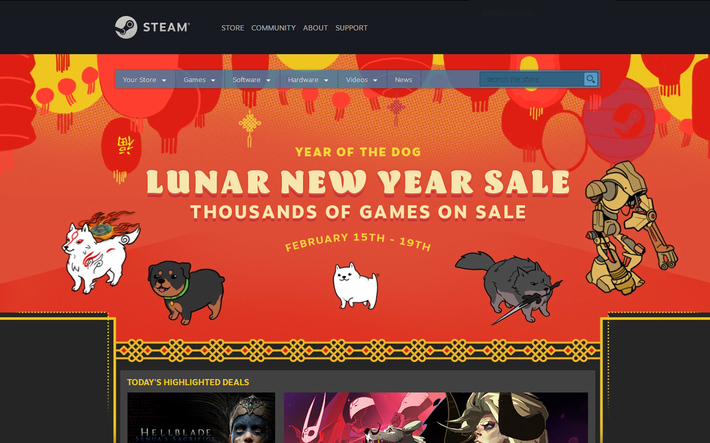 Saldos do Novo Ano Chinês no Steam