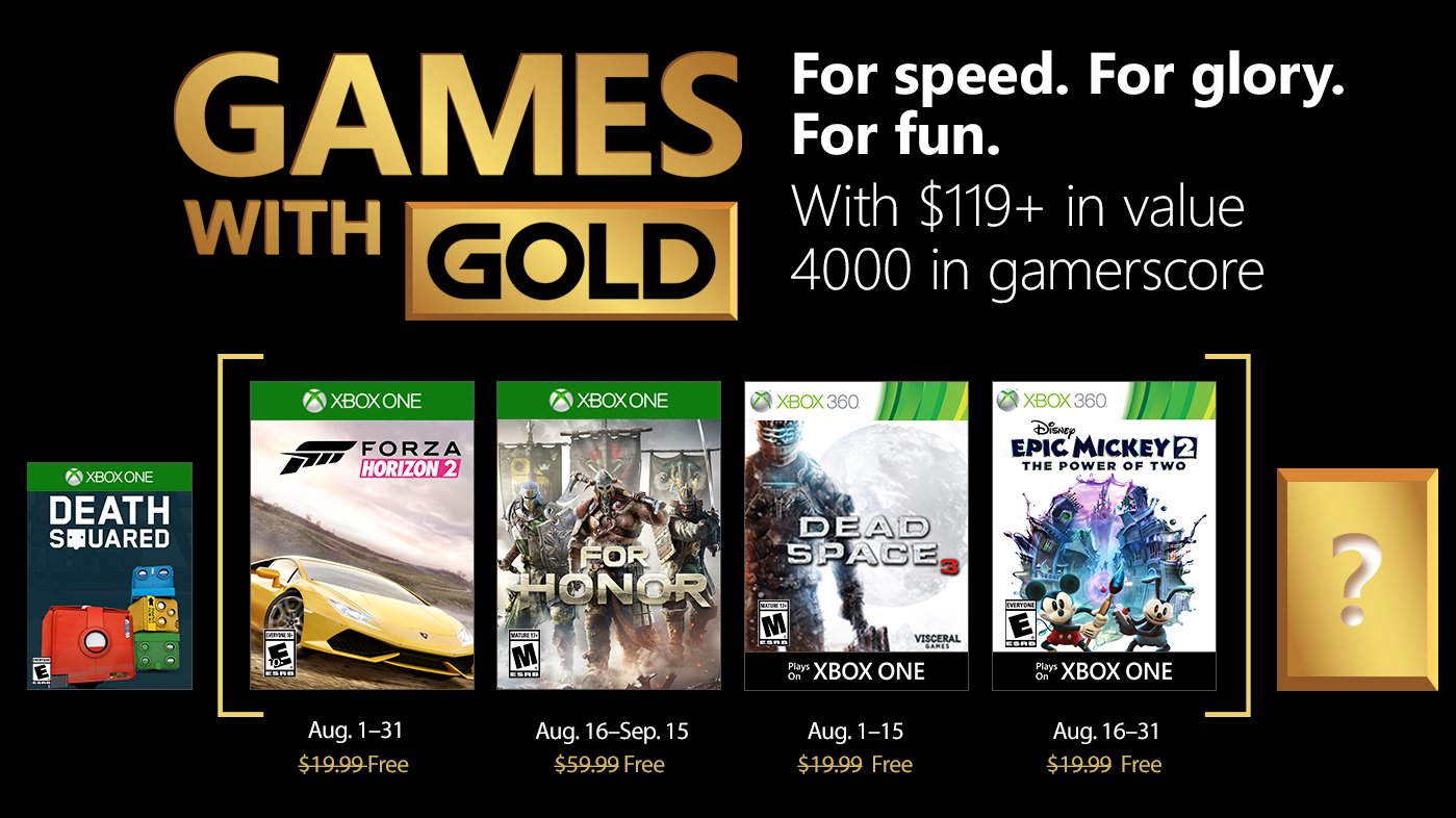 Jogos para Agosto no Xbox Games With Gold