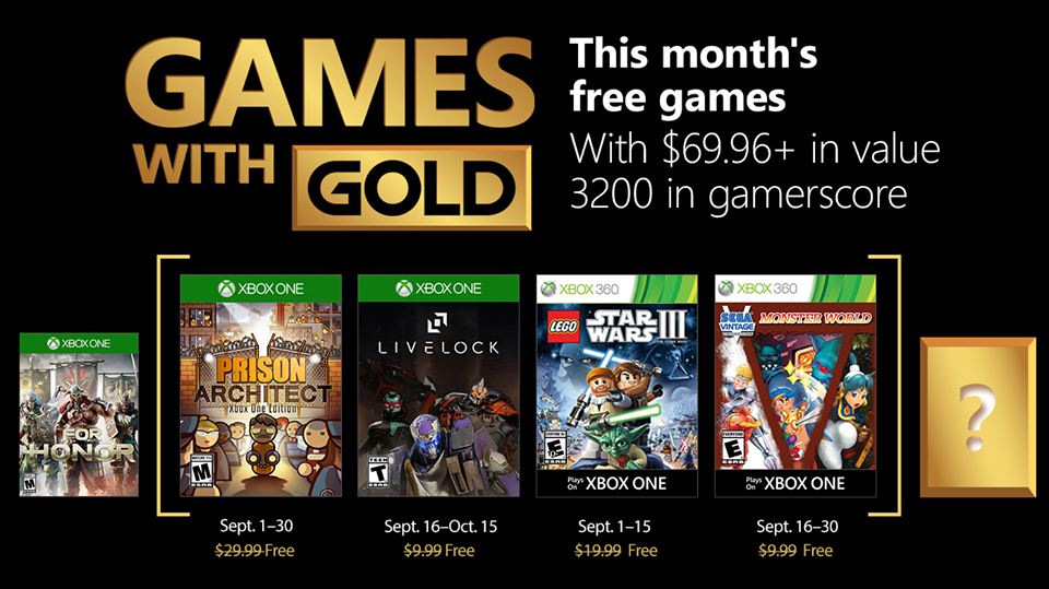 Xbox Games With Gold para Setembro