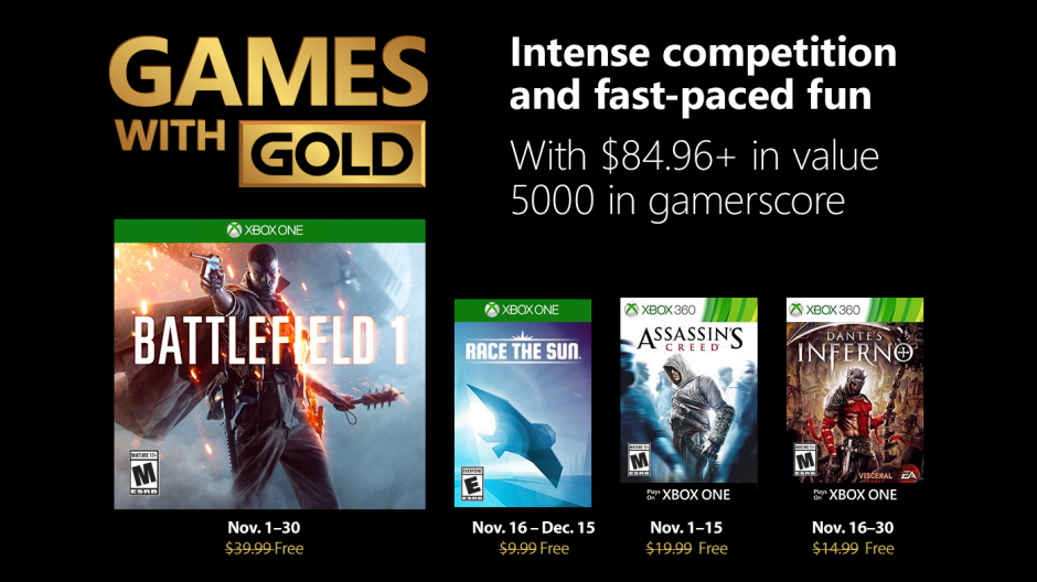 Novembro no Xbox Games With Gold