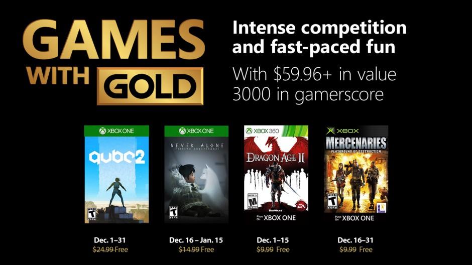 Jogos Gold para Dezembro no serviço Xbox Live