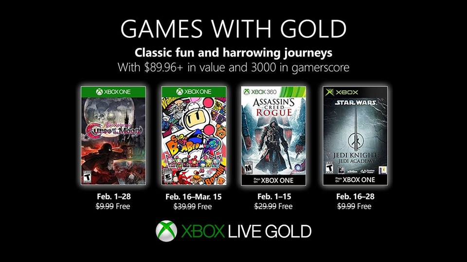 Jogos para Fevereiro no Xbox Games With Gold
