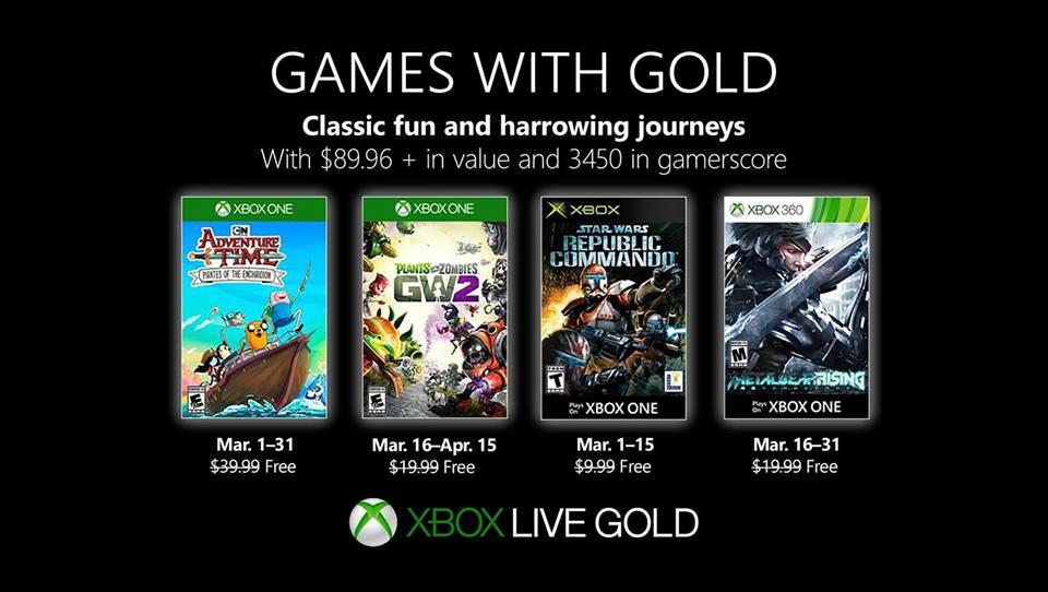 Jogos de Março no Xbox Games With Gold