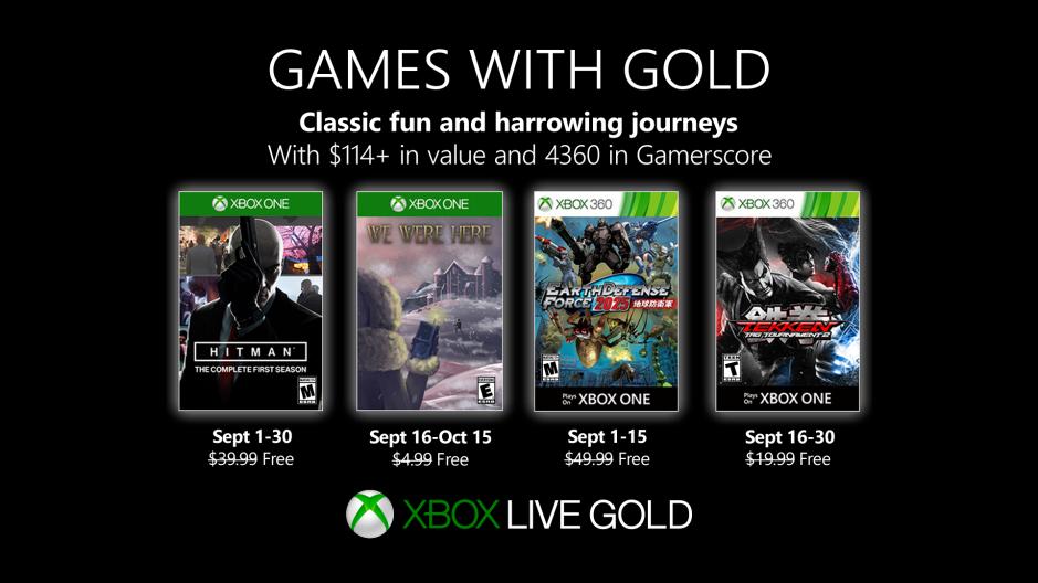 Jogos de Setembro no Xbox Games With Gold