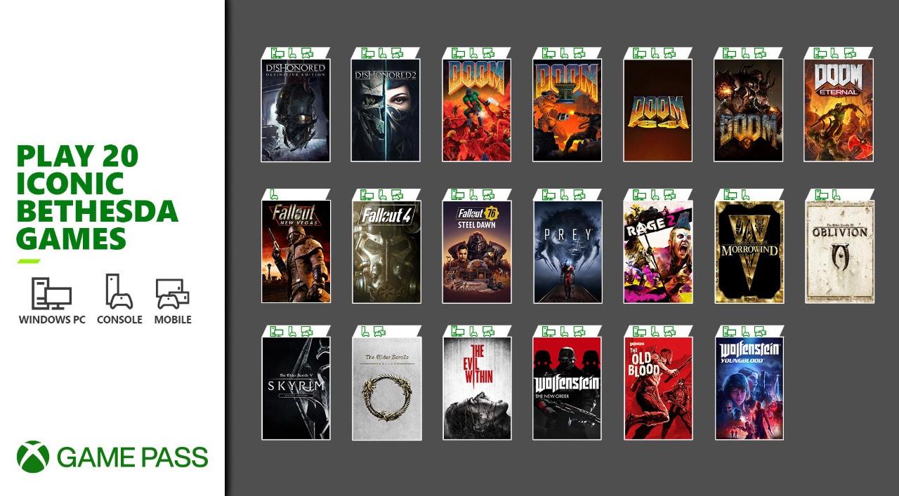 20 jogos da Zenimax a chegar ao Xbox Game Pass